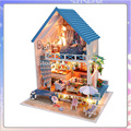 13830 Hongda DIY wooden dollhouse large villa Holiday Doll house miniature with LED lights toys