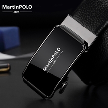 MartinPOLO Brand Fashion Automatic Buckle Black Genuine Leather Belt Mens Belts Cow for Men 3.5cm Width MP02001P