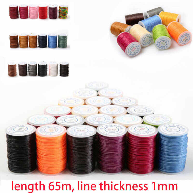 1 Roll 65M 150D 1MM Leer Naaien Waxed Thread Hand Wax Stiksels Reparatie Cord Craft Polyester Draad