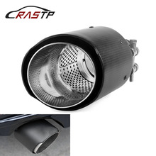 RASTP-Inlet 63mm Matte Carbon Muffler Tip Tail End Universal Stainless Steel Straight Flange Black for Bmw RS-CR2014