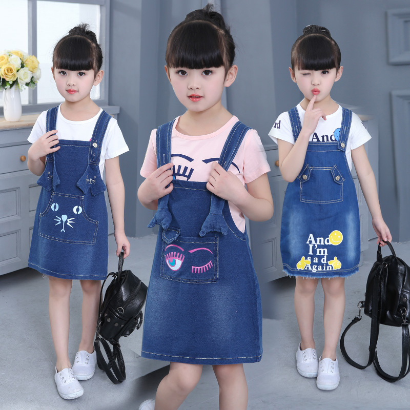 3 10 Y Girls Jeans Dresses 2 PCS 2017 Spring Kids Girl Demin