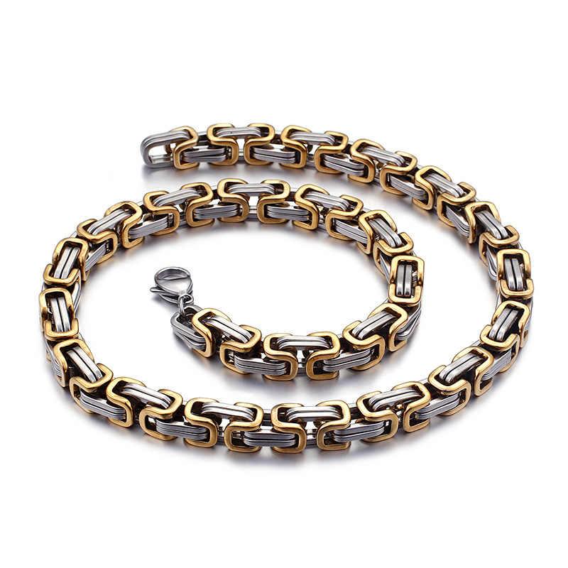 5mm/6mm/8mm Oro Argento In Acciaio Inox Re Bizantino Catena del Braccialetto Della Collana di Modo Gioielli Fatti A Mano 8-24''