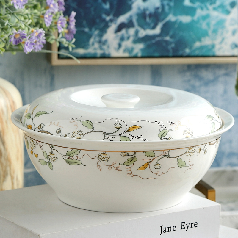 9 inch, golded wave and leaf banding painting, bone china pote, potes, ceramic tureen, japanese soup serving bowls with lid serveware