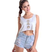Funny Cute Three Monkeys Beach Tank Top O Neck Sleeveless casual Shirt Vest Singlet White Loose Blusa Ladies Summer Sexy Cutout