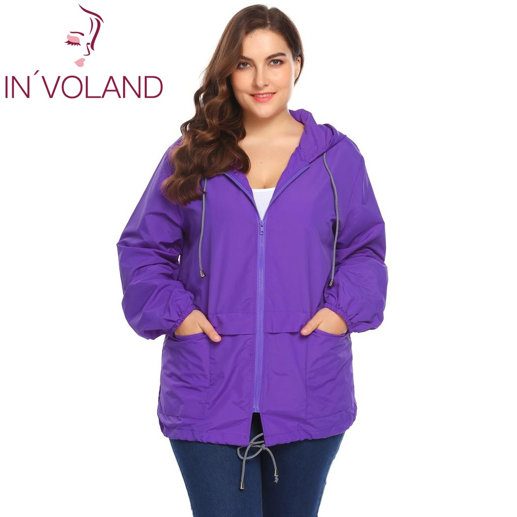 debf1598d59 IN VOLAND Plus Size Women s Jacket Rain Coat Windproof Full Zip Drawstring  Solid Hooded Lace-up Large Overcoat Big Size XL-5XL