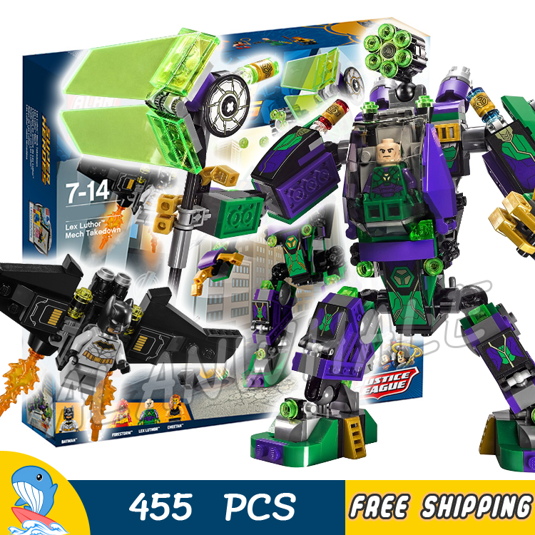 455pcs Super Heroes Lex Luthor Mech Takedown Escape Pod Bat-glider 07092 Model Building Blocks Toys Bricks Compatible With lego