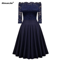 Himanjie Womens Sexy Hot Sale Floral Lace Patchwork Half Sleeve Swing Slim Club Party Cocktail Fitted