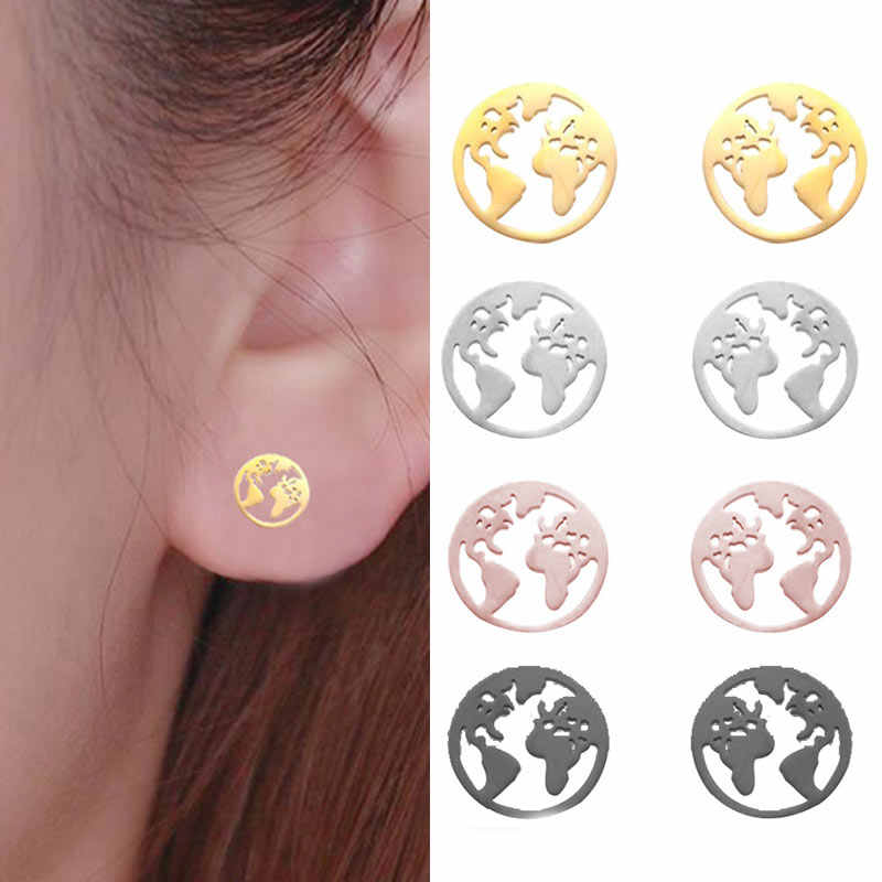 Stud Earrings Earth Map Round Unique Fashion Jewelry Stainless Steel Circle Girls 4 Colors 1Pair Travel World Map Hollow Out