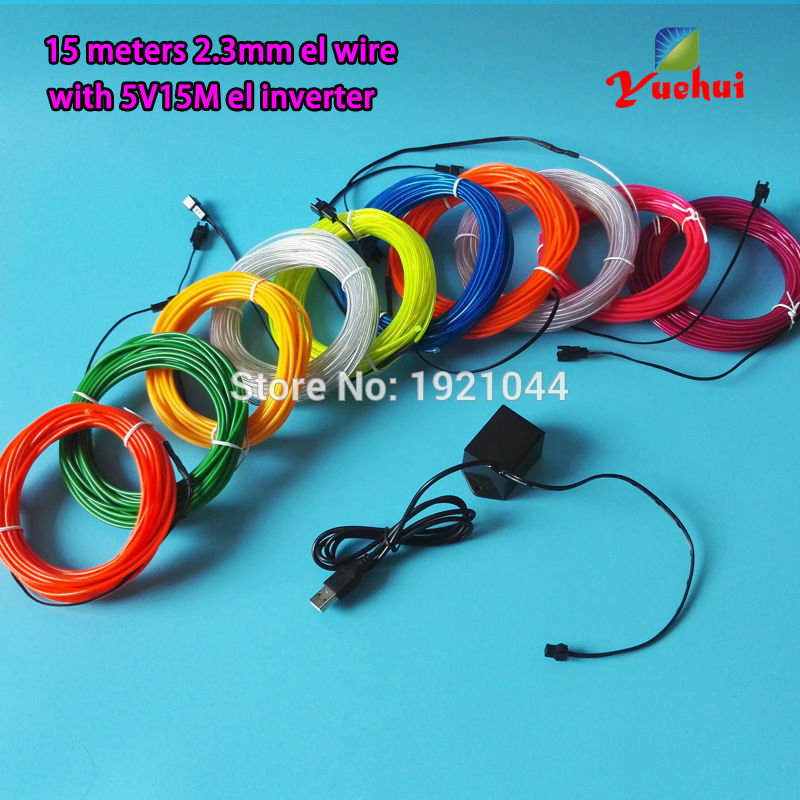 New arrival 15M 10 color Select Flexible EL Wire Rope Tube Thread Neon Light DC-5V USB For House Trendy Night Wedding Decoration