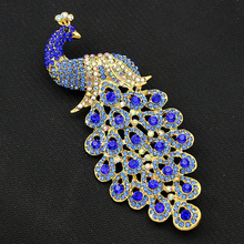 2017 Large Brooches For Women Blue Peacock Brooch Pin As Christmas Gift For Friends Broches Para As Mulheres Dropshipping