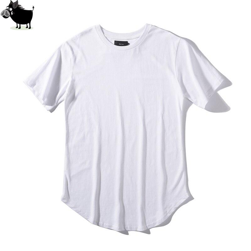 Man Si Tun Solid Color Curve Hem Casual Mens T Shirt