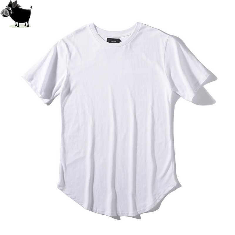 219d0273 Man Si Tun Solid Color Curve Hem Casual Mens T-shirt Longline 2019 Summer  Hip Hop T shirt Extended Street Tee Shirts for Men