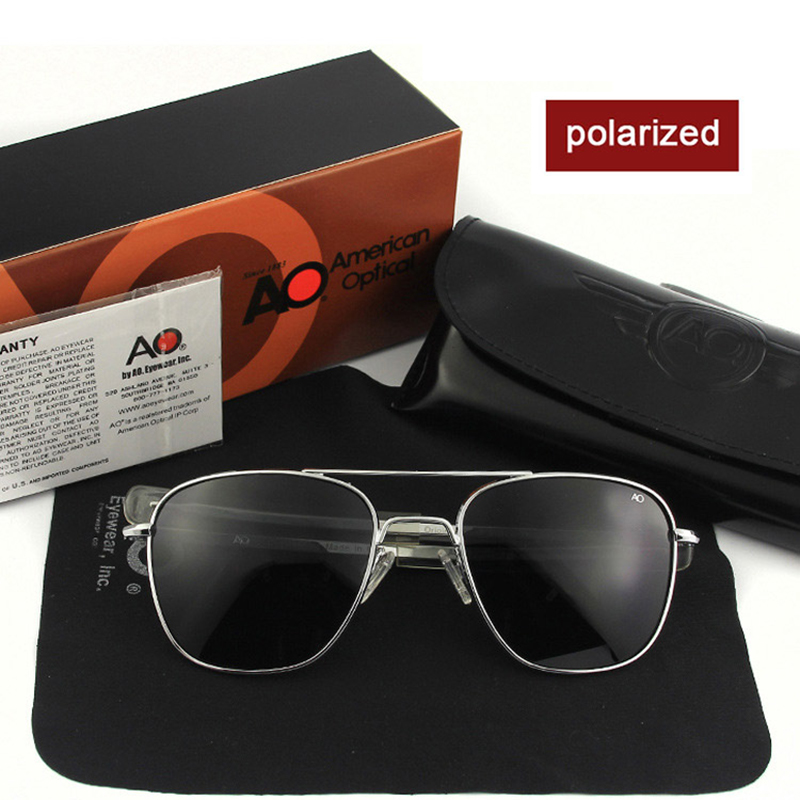 High Quality AO Sun Glasses Polarized Lens Male Brand Designer Fashion Pilot Sunglasses Men American Army