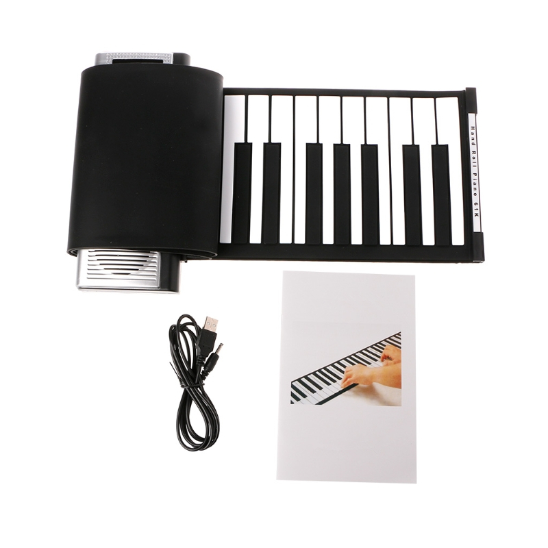 Portable Roll Up 61 MIDI Soft Keys Flexible Electronic Piano Music Keyboard New Vocal Toys