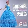 Azul vestido de debutante párr anos de un hombro ata para arriba detrás ruffles barato vestidos de quinceañera vestido