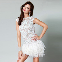 Vestido De Festa Curto White Cocktail Dresses Feathers Short Party Gown Dress Lace Sccop Sexy Open