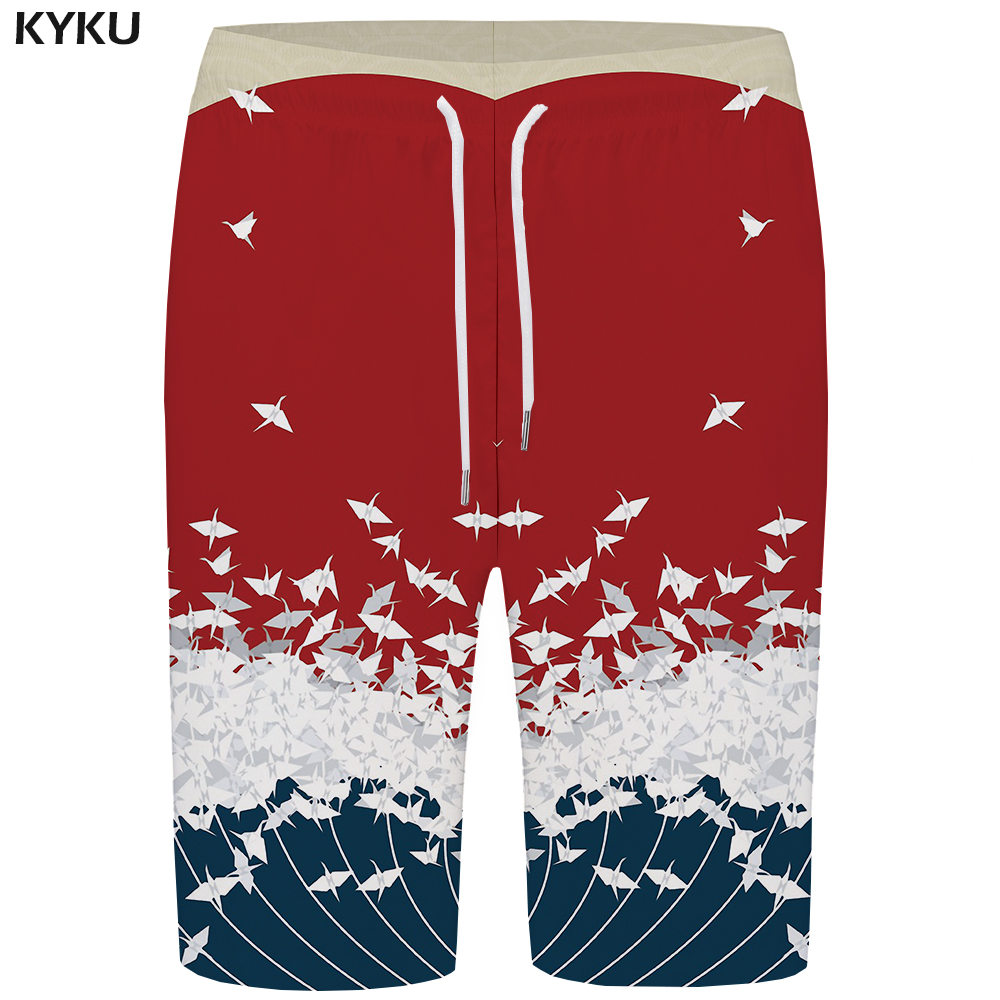 KYKU Wave   Board     Shorts   Men Red Bird   Short   Pants Beach Phantom Space 3d Printed   Shorts   Casual Animal Mens   Shorts   Quick Silver New