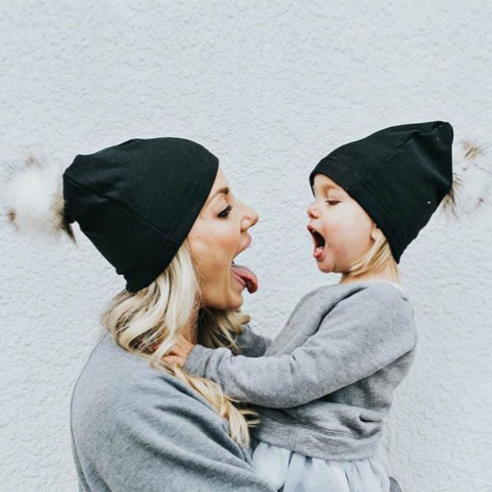 2Pcs 0-4Yrs Baby Hats With Faux Fur Pompom Mom Mother+Baby Crochet Knit Winter Warm Parent-Child Bobble Beanie Cap BFOF