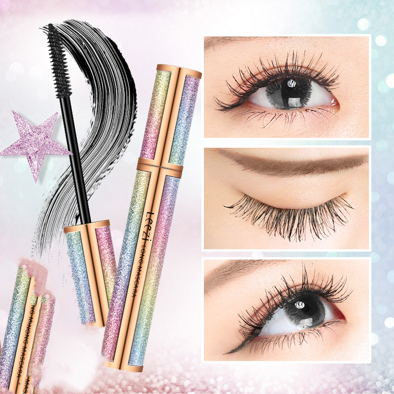 4D Eyelash Mascara Bling Colorful Starry Sky Silk Fiber Lash Mascara Waterproof Extension Dense Thick Lengthening Eye Lashes