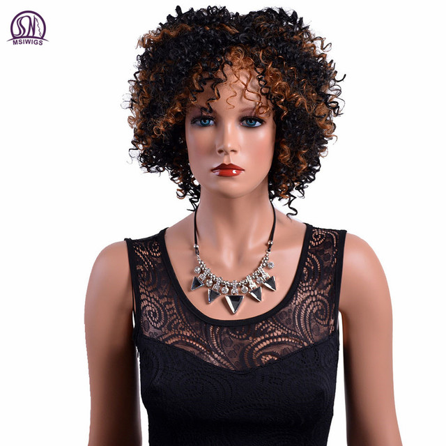 Msiwigs Afro Curly Synthetic Wigs With Highlights Black Brown Hair