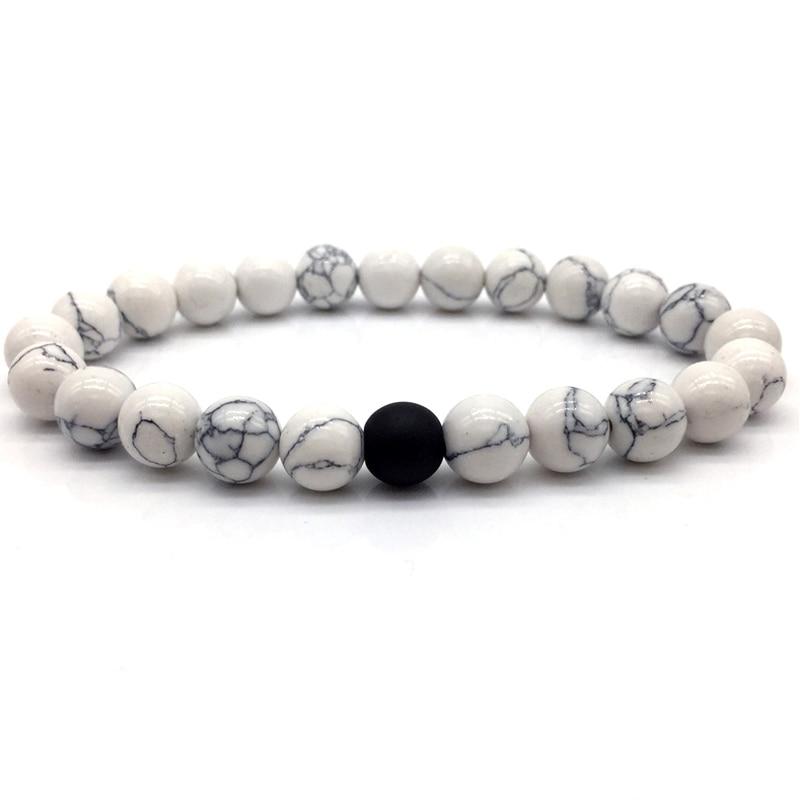 2018 Black and White Natural Stone Distance Bracelets for Women Men Strand Bracelets Bangles Lovers Gifts