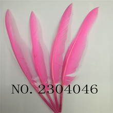 20PCS beautiful hunchback turkey feather 14-16 inch / 35-40cm goose feathers pink DIY decoration process