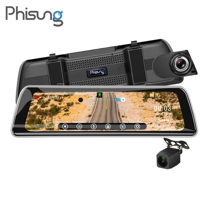 Phisung Streaming 9.35 IPS Tactile De Voiture Miroir caméra vidéo GPS Piste WDR FHD 1080 P Dash caméra avec 720 P caméra arrière enregistreur dvr