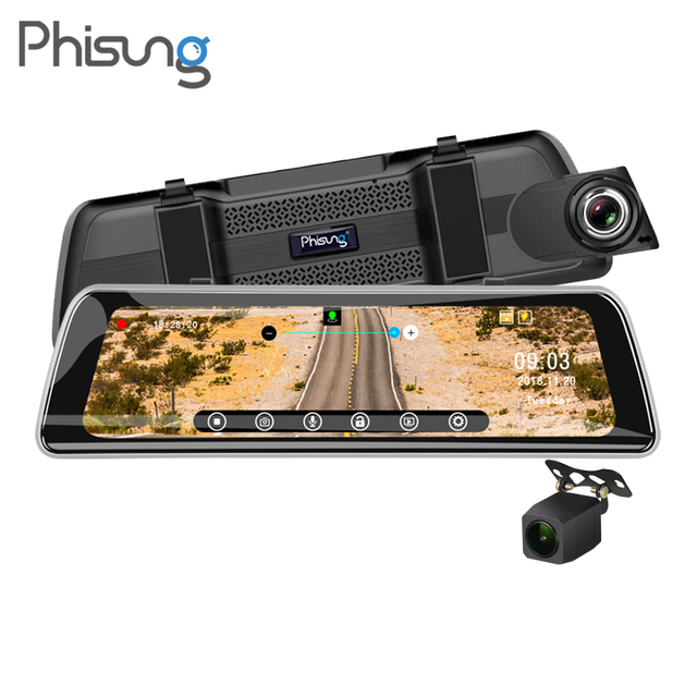 """Phisung Streaming 9.35"""" IPS Touch Car Mirror video Camera GPS Track WDR FHD 1080P Dash camera with 720P rear cam Recorder DVR"""