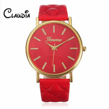 7 Colors CLAUDIA Fashion Women Casual Geneva Roman Leather Band Analog Quartz Wrist Watch Hot Sale FreeShipping Relogio Feminino