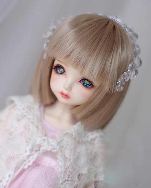 BJD bebek peruk keten orta uzunlukta düz Bob saç peruk için 1/3 1/4 1/6 1/8 BJD DD SD MSD YOSD bebek Yüksek sıcaklık tel peruk