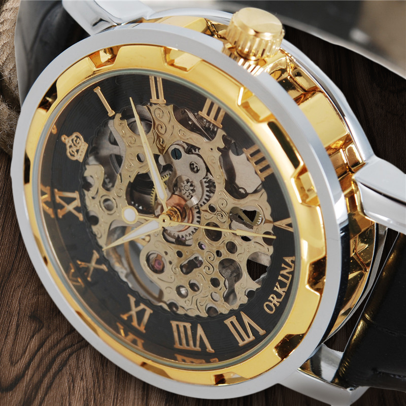 MG ORKINA Fashion Elegant font b Men b font Watch Skeleton Gold Roman Numbers Wrist Watch