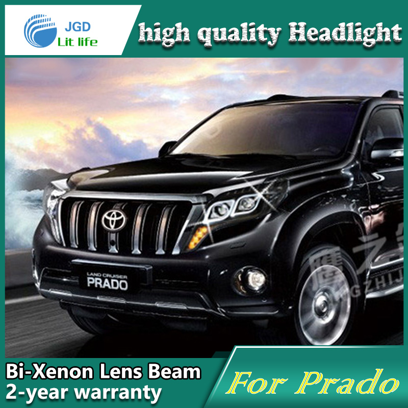 Car Styling Head Lamp case for Toyota Prado 2014 LED Headlights DRL Daytime Running Light Bi-Xenon HID Accessories novsight car led headlights assembly headlamp projector drl fog light daylight for toyota prado 2004 2009
