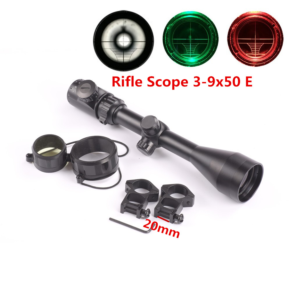 Hunting Rifle Scope 3-9x50E Red Green Illuminated Air Rifle Optics Sight Hunting Scope Sight Riflescope With 25.4mm Mount цена