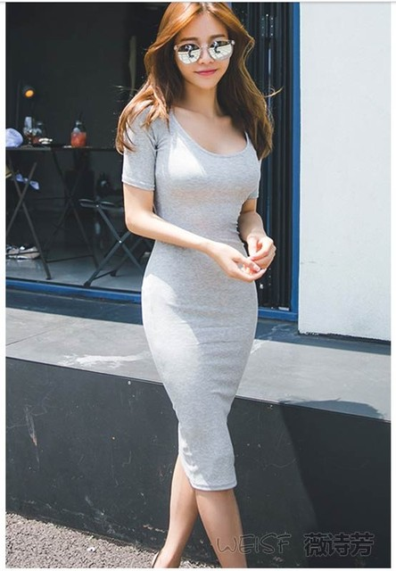 2019 new arrival girls fashion sexy slim grey dresses women s casual autumn  summer style black dress office lady elegant L  L300 655e62359290