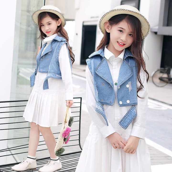 8e3882ad6aa51 2019 New Toddler Girls Clothing Sets Teenage Kids Clothes Suit Spring  Fashion Denim Jackets + Shirt Dress Children Clothing Sets