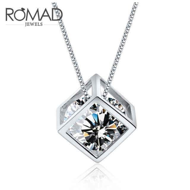 Aliexpress buy s925 necklace and aaa cubic zirconia s925 necklace and aaa cubic zirconia pendants women dazzling crystal square pendant necklace for women aloadofball Image collections