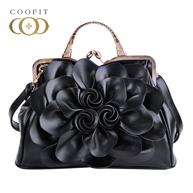Coofit Womens Elegant Handbag Unique Rose Flowers Pattern Top Handle Bag Female Fashion Crossbady Shoulder Bags 2018 New Arrival