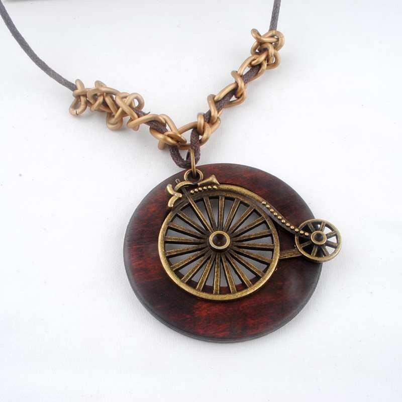 Antique Vintage Long Rope Chain Necklace font b Wooden b font Alloy Bicycle font b Pendants