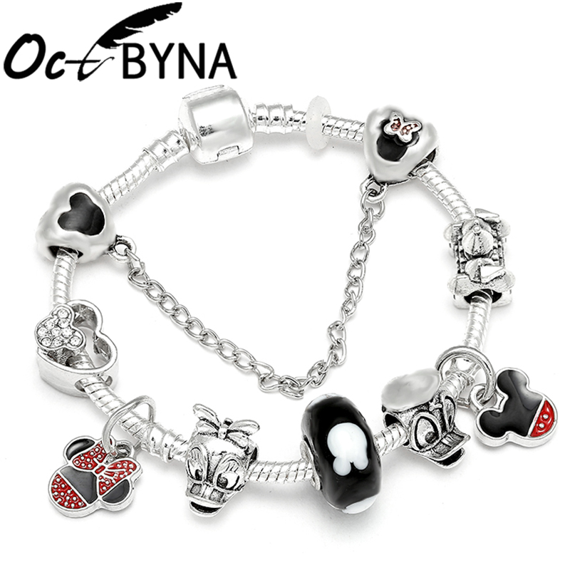 Mickey Silver Chain Charm Bracelet For Women Cartoon Don Duck Minnie Mouse Beads Pandora Bracelet Love Bangle Kids Jewelry Gifts Buy At The Price Of 0 98 In Aliexpress Com Imall Com