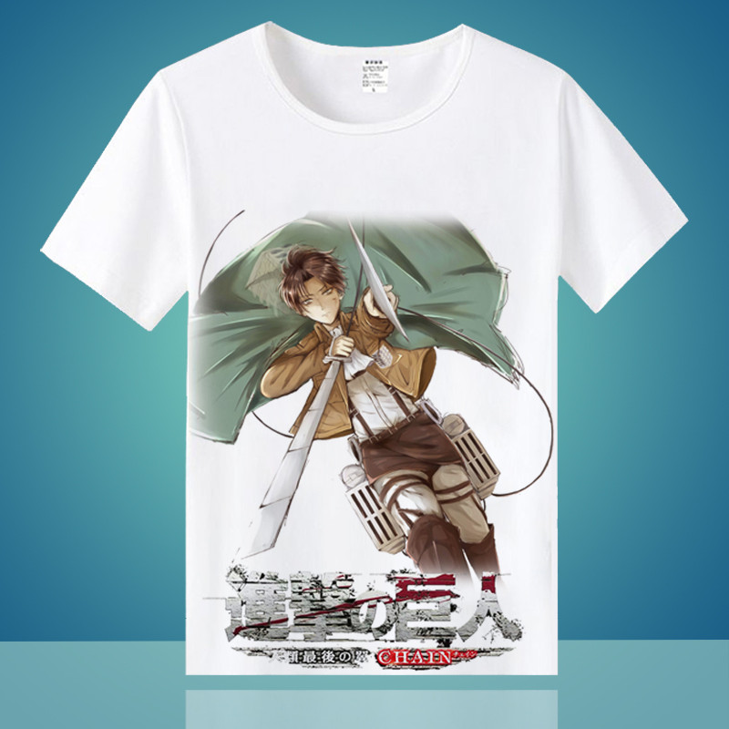 CostumeBuy Attack on Titan T shirt Shingeki No Kyojin Mikasa Levi Cosplay T-shirts Costumes Men Women Short Sleeve Tees Tops
