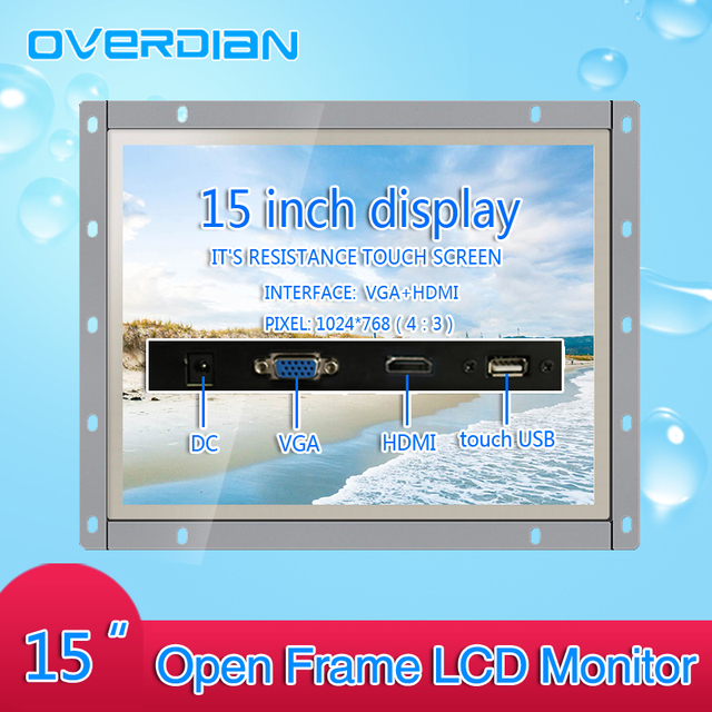 15 pouces contrôle industriel Lcd moniteur VGA/TouchUSB/HDMI écran Interface cadre ouvert résistance écran tactile métal coque 1024*768