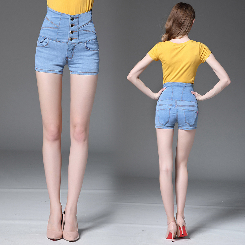 New 4 Buttons Retro Elastic High Waist Short Feminino Denim Shorts For Women Loose Plus Size -1414