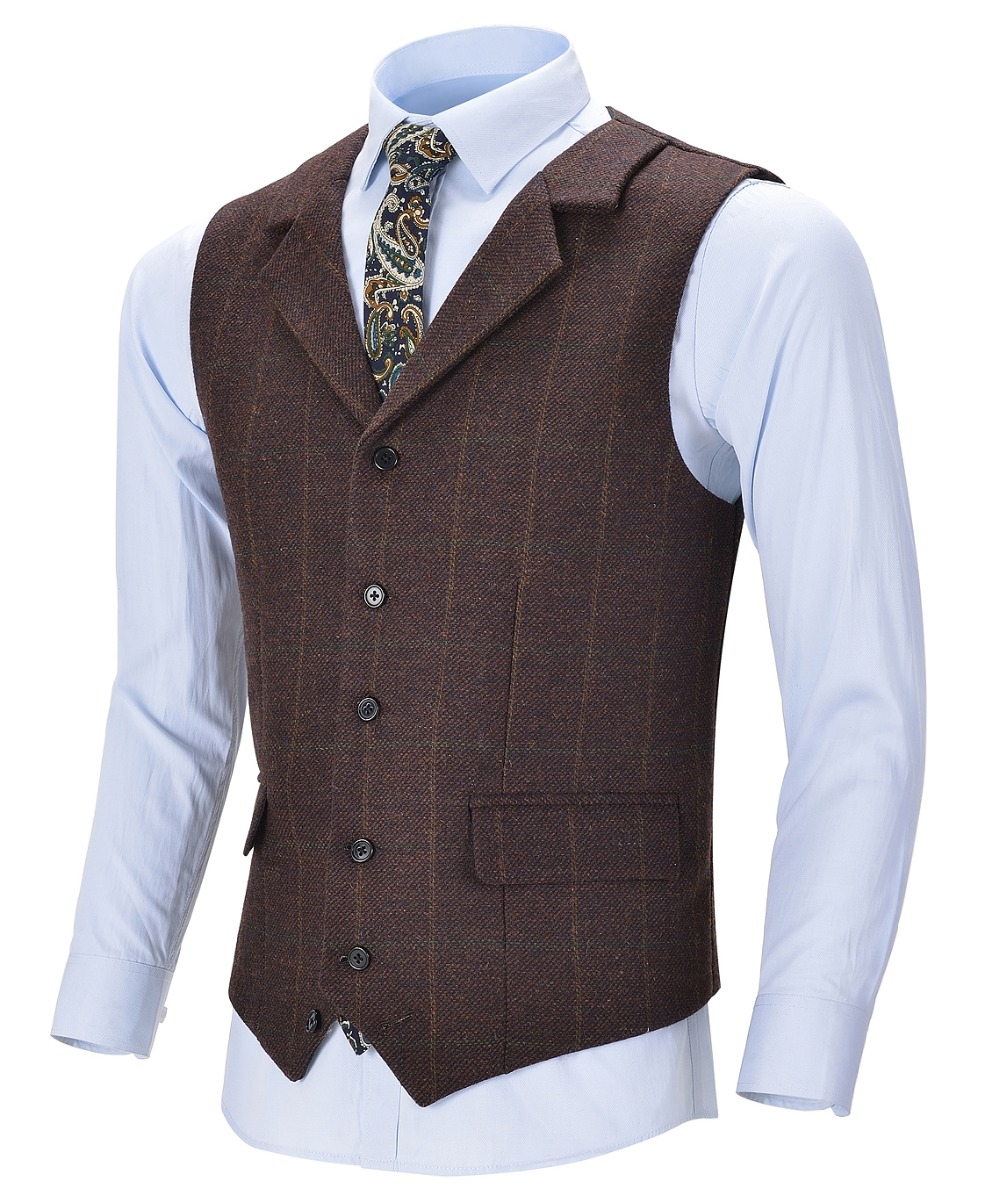 Men's Business Vest Boutique Wool Plaid Slim Fit Single-breasted Cotton Suit Green Waistcoat For Wedding Formal Vest Groomsmen