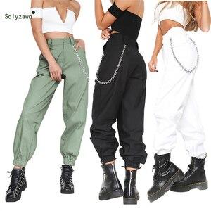 Image 5 - 여성 streetwear 하이 웨스트 솔리드 메탈 체인 슬링 카고 바지 하라주쿠 블랙 화이트 카키 옐로우 그린 바지 롱 조거 2xl