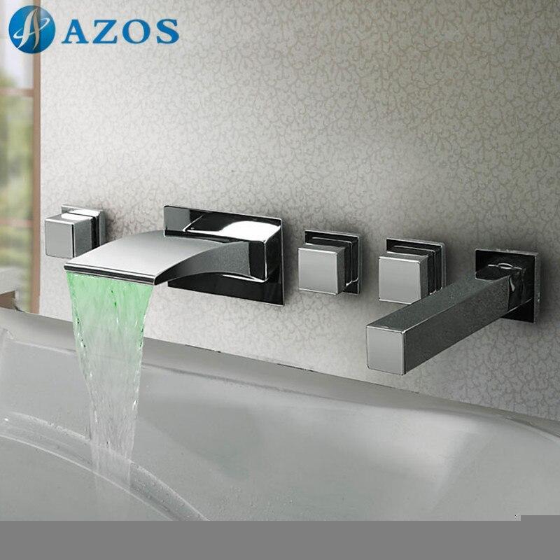 Ванна Смесители для душа LED Ванная комната suana 5 шт. Наборы для ухода за кожей Душ, переключатель, две ручки, шланг для душа, водопад Носик ygwj094
