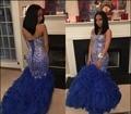 Deslumbrante Africano Frisada de Cristal Azul Royal Sereia Vestidos De Baile 2016 Corset Voltar Ruffles Longo prom vestidos best selling vestido de baile