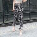 YONO Novas Das Mulheres Da Forma Calças Casuais Soltas Calças de Praia Print Floral Pantalon Algodão Feminino Calças de Verão Meados de Cintura Plus Size