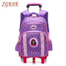 Children Cute Trolley Backpack Bagpack For Girls Boys Fashion Wheeled School Back Pack Bag Large Capacity Rolling Bags