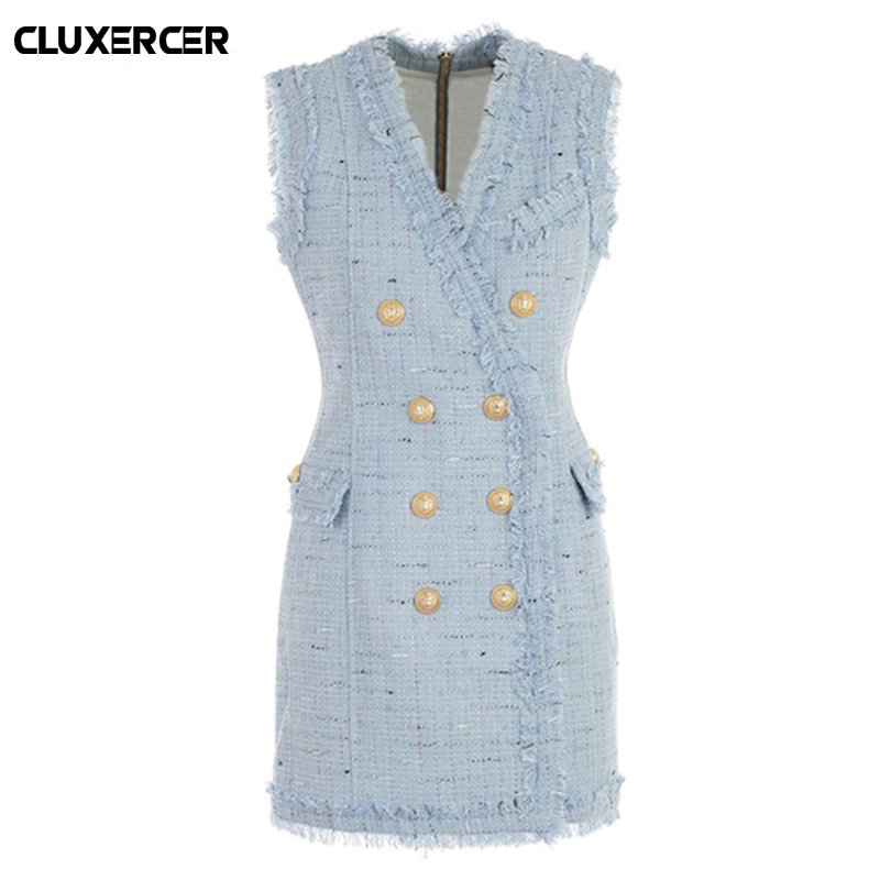 все цены на Women spring Autumn Dresses Ladies Blue Party Dresses sexy V Neck Sleeveless Elegant Frayed Trim Tweed Dress vestido