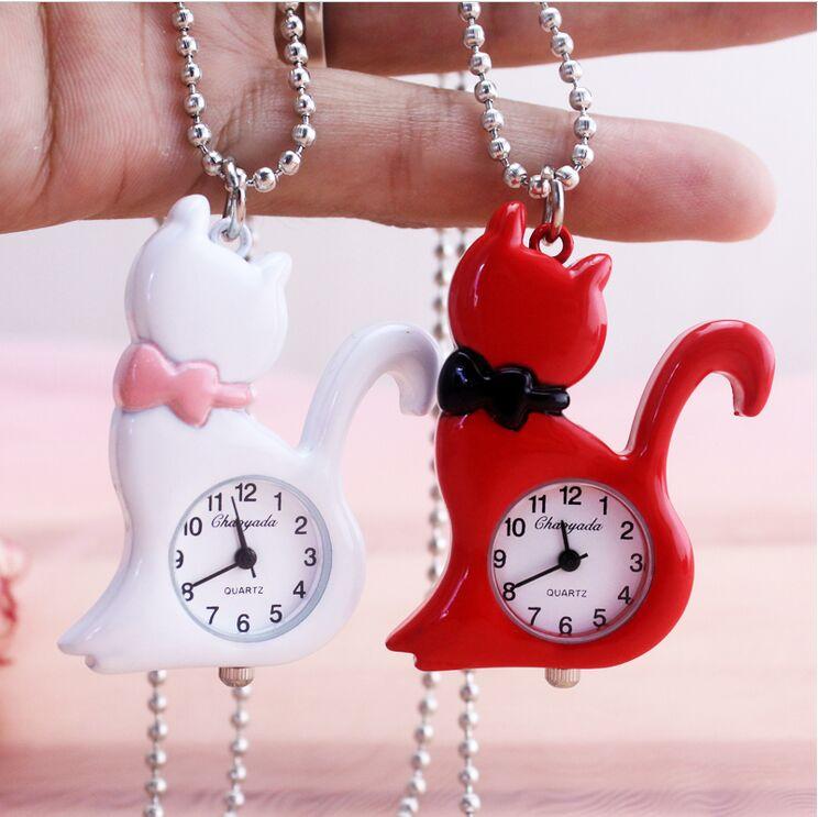 10 Pcs /lot Strange Cat Pendant Silver Table Cover Necklace Pocket Watch Woman Man Gift Low Price Wholesale